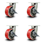 """8"""" Extra Heavy Duty Red Poly On Cast Iron Caster Set-swvl Casters W/brakes-set 4"""