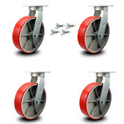 12andrdquo Extra Heavy Duty Red Poly On Cast Iron Caster Set-swivel Casters W/bsl-set 4