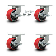 6andrdquo Extra Heavy Duty Red Poly On Cast Iron Caster-swivel Casters W/brkandbsl-set 4