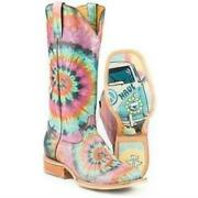 Women's Tin Haul Groovy Boots With Tie Died Camper Sole Handmade