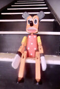 Vintage Hand Crafted And Painted Mickey Mouse Hinged Wooden Doll Shelf Sitter