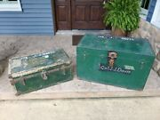 Vintage Set Of 2 Wwi Soldier Military Wood Chest Personal And Saddle Chest, Ohio