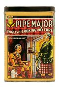 Rare 1920s Red Pipe Major Litho Hinged Pocket Tobacco Tin In Exc. Condition