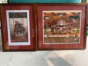 Charles Wysocki Lovers Waltz And Old Glory Farms Set And Framed.andnbsp