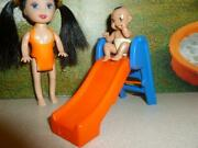 Barbie Baby Doll Size Little Tikes Diorama Miniature Slide + 2 Tall Baby Doll