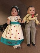 Antique Vintage Mexican Girl And Boy Dolls