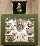 Rare Vintage Andrea By Sadek Peacocks And Flowers Teaset With Tray 17 Piece Set