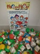 Vintage 6 Meow Meow Your Pet Cat W/ Hat Vending Machine Toys New Old Stock