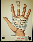 Vintage San-cura Ointments Advertising Hand Display New Old Stock