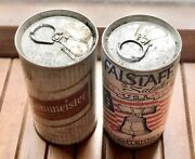 2 Vtg Beer Cans Pull Tab Flat Tops Falstaff And Braumeister Collector Man Cave