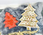 Vintage Christmas Tree Candy Dish Speckled Red White Green Ceramic Xmas Paint 2