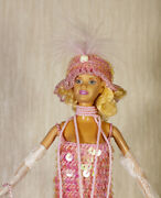 Paradise Crochet Doll Pink Sequins 1925 Jeweled Flapper Girls Outfit Ooak Barbie