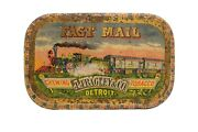 Scarce 1900s Fast Mail Litho Flat Hinged Pocket Tobacco Tin In Good Condition