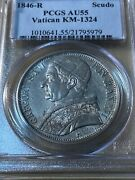 1846-r Papal States 1 Scudo Graded Au55 By Pcgs Pope Gregory Xvi