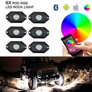 6x Pods Rgb Led Rock Lights Under Body Lamp Bluetooth For Can-am Offroad Utv Atv