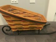 Longaberger 1998 Sleigh Basket With Runners And Protector - Free Shipping