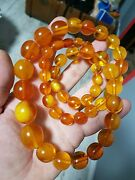 Vintage Amber Beads 1950 Exellent Antique Beads Baltic Amber Necklace 84 Gr 老琥珀