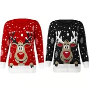 Santa Claus Xmas Patterned Ugly Christmas Sweaters For Women Plus Size Deer Tops