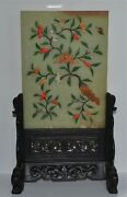 Old Or Antique Chinese Stone- + Glass-embellished Hardstone Plaque Table Screen