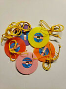 Vintage 5 Disco Records Necklace Charms Gumball Vending Machine Toy Prizes Nos