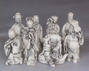 A Set 8 Fine Chinese Old Dehua White Porcelain Carved Immortals Buddha Figurines