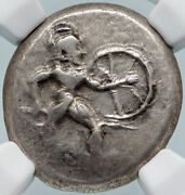 Aspendos In Pamphylia Ancient 450bc Silver Greek Coin Hoplite Soldier Ngc I85419