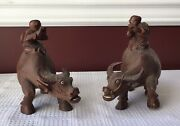 Pair Of Vintage Chinese Carved Wooden Water Buffalos With Riders Figurines