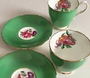 Paragon 2 Demitasse Cup And Saucer Set Fine Bone China Flower Green From Japan