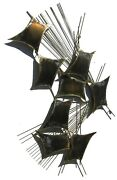 Signed Curtis Jere Abstract Vintage Metal Wall Sculpture - Signed 1980