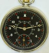Rare Election Wwii Pilotand039s Black Dial Art-deco Open Face Pocket Watch C1937