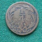 1829 Mexico 1/4 Real Large Type Km 357 Copper Coin Mo Scarce