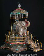 16.4 Old Tibet Natural Crystal Silver Filigree Inlay Gems Elephant Base Statue