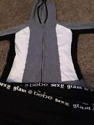 Bebe Sport Hoodie And Pants Set Very Nice Black White Gray Silver Accents
