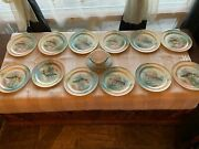 Antique Limoges France Hand Painted Fish Set 12 Plates 8,5 Sign With Gravy Boat