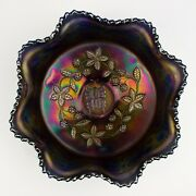 Fenton Carnival Glass Butterfly And Berry 3-footed Master Berry Bowl, Blue Base