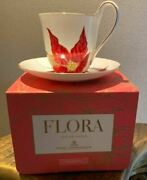 Royal Copenhagen Flora Cup And Saucer Poinsettia With Box Danmark From Japan Mint