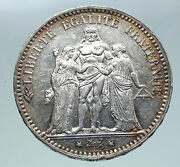 1876 A France Hercules Group Antique Vintage Silver 5 Franc French Coin I86354