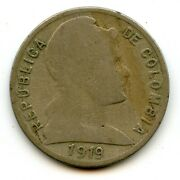 Genuine Scarce Date 1919 Colombia 5 Centavos | Good Condition
