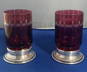 Antique Red Glass Sterling Silver Stands Small Goblets Lot Of 2