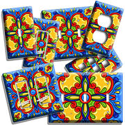 Mexican Talavera Tile Inspired Light Switch Outlet Plates Kitchen Folk Art Decor
