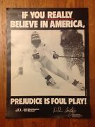 Rare 1980's U.s Olympic Team Debbie Armstrong Prejudice Is Foul Play Poster