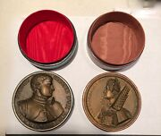 Trinket Jewelry Boxes Bronzed Metal And Leather Medallion Lids Italy Vintage