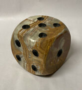 Very Large Vintage Green Onyx 6 Sided Die Dice Paperweight Natural Stone