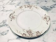 19th C Upper Hanley Pottery England Aesthetic 10 1/4 Brooklyn Brown White Plate