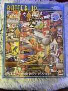 White Mountain Puzzles- 1000 Pieces- Batter Up By Kate Ward Thacker- Baseball