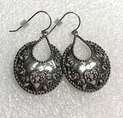 Nwot Or Paz Sterling Silver 925 Ornate Circle Lace Dangle Earrings Israel Pz