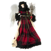 16 Country Christmas Angel Tree Topper Red Buffalo Plaid Rustic Cabin