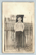 Wd2 Postcard Rppc Young Boy In Knickers / Hat Fence John Groot Indiana 371a