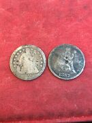 1856 And1887-s Liberty Seated Dimes See The Pictures Two Coins Both Damaged