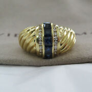 David Yurman Sapphire And Diamond Sculpted Cable Dome Size 7